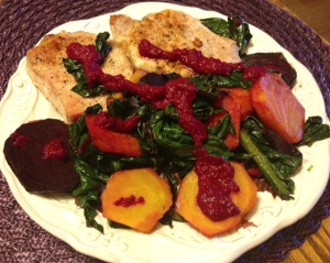 pork beets and greens